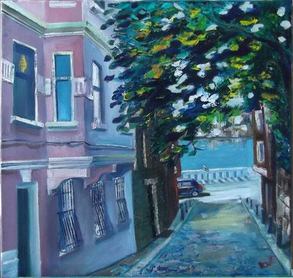 """Alley of Istanbuls Cihangir"", oil, canvas, 50x50cm, 2013"