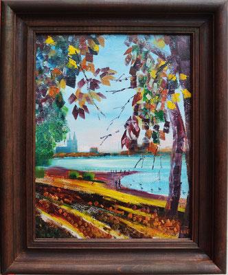 """The Autumn on the Rhine"", oil, board, 30x40cm, 2015"