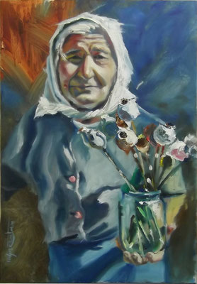 """""""Luba with Dry Poppies"""", oil, board, 40x60cm, 2014"""