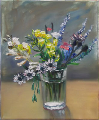 """""""Field Flowers in a Tablet Glass"""", oil, canvas, 24x30cm, 2014"""
