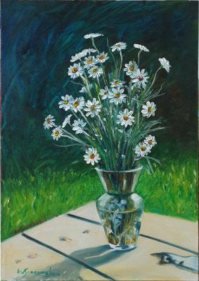 """Chamomiles in a Glass Vase"", oil, board, 30x40cm, 2014"