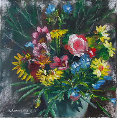 """""""Field Flowers in a Clay Pot"""", oil, canvas, 30x30cm, 2014"""
