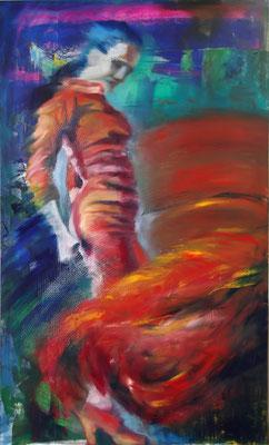 """Steady Fire"", mixed media, oil&acrylics, board, 60x100cm, 2014"