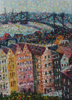 """""""View on Deutzer Bridge"""", oil, canvas, 50x70cm, 2014"""
