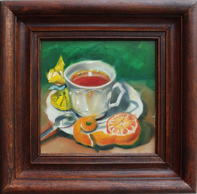 """""""A Cup of Tee with a Mandarin"""", oil, board, 20x20cm, 2014"""