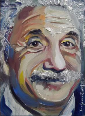 """Einstein - Face Metamorphosis"", oil, board, 13x18cm, 2014"