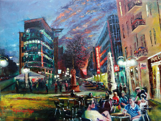 """Frankfurt-Night in Bornheim Mitte"", oil, canvas, 60x80cm, 2016"