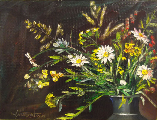 """""""A Bunch of Field Flowers with Chamomilles """", oil, board, 30x40cm, 2014"""
