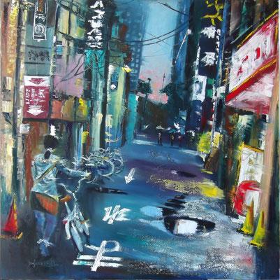 """Dusk in Osaka"", oil, board, 100x100cm, 2014"