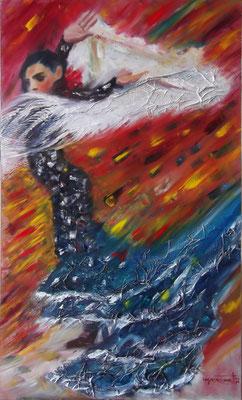 """The Peacock Dance"", mixed media, oil&acrylics, board, 60x100cm, 2014"