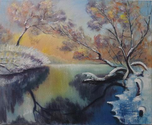 """The Quiet Lake"", oil, canvas, 50x60cm, 2015"