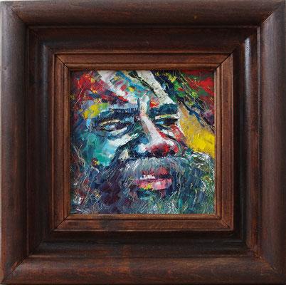 """""""Australian Beard"""", oil, board, 15x15cm, 2015"""