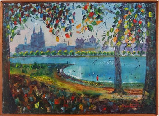 """""""A Walk at the Rhine"""", oil, canvas, 50x70cm, 2015"""
