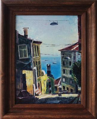 """The Sea View in Istanbul"", oil, board, 30x40cm, 2015"