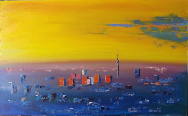 """""""The Wakening Berlin"""", oil, board, 60x100cm, 2014"""