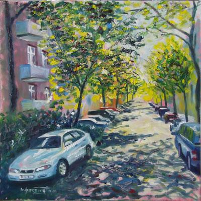 """Summer Alley in Berlin Lichtenberg"", mixed media, oil&acrylics, board, 50x50cm, 2014"
