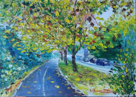 """Berlins Autumn Alley"", oil, board, 50x70cm, 2014"