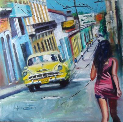"""Walking through Santiago de Cuba"", oil, board, 100x100cm, 2014"