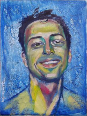 """Selfportrait on Blue Background"", oil, board, 30x40cm, 2014"