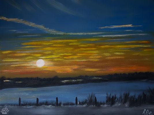 Abendstimmung im Winter -nach meinem Foto-