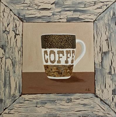 Kaffeetasse mit gemaltem Rahmen  -neu-