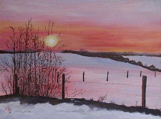 Sonnenuntergang im Winter -nach meinem Foto-