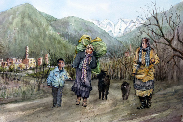 Retour des champs dans la vallée de l'Ourika , Maroc