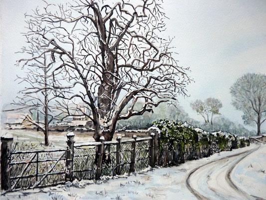 Chemin sous la neige à Merville Franceville