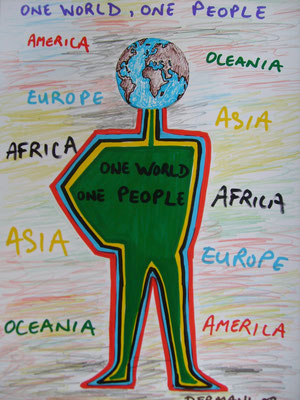 One World One People, Mixed Media on Paper