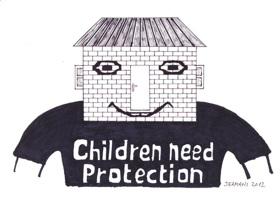 Children need protection, Chinese ink on Paper