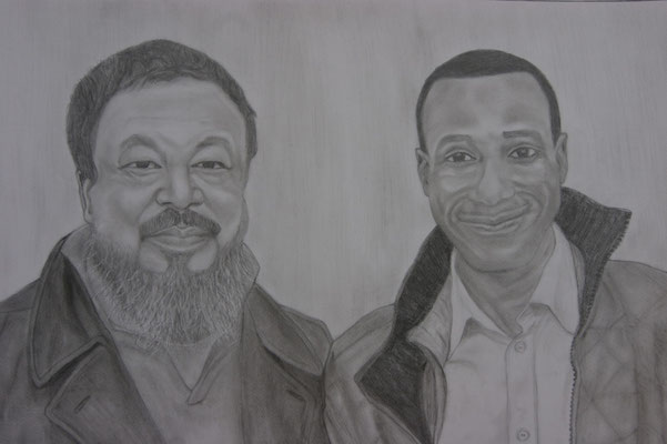 Ai Weiwei and Dermani, 2012, Drawing / Pencil on Paper ( 50 x 70 cm ), from my photo with Ai taken in Kassel 2007, Germany