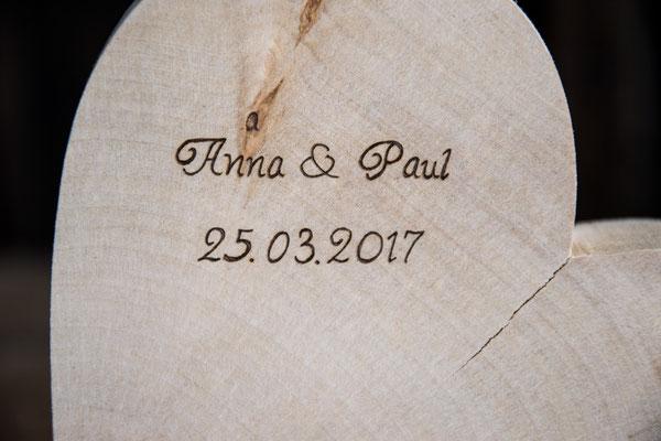 Gravur auf Holzherz