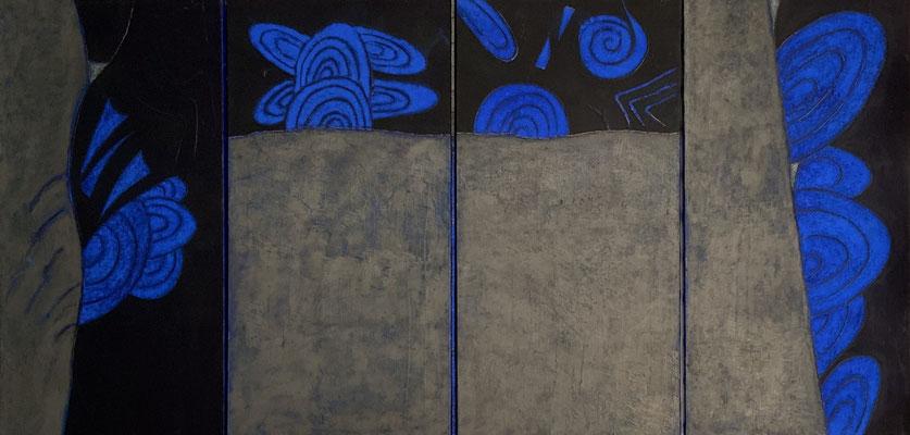 acrylique et pigments sur toile triptyque 3x40x80