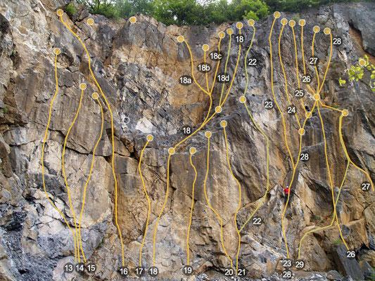 """Kletterroute Nr. 18, die """"Sanfte Schulter"""" ist das erste Ziel an diesem Sonntagmorgen Anfang Mai"""