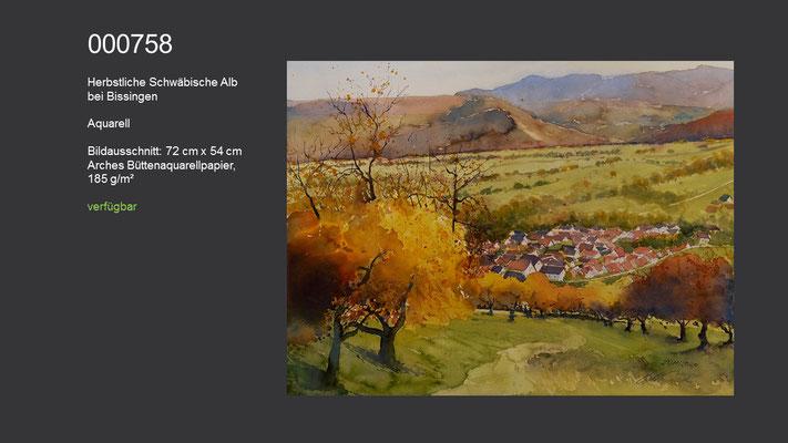 758 / Aquarell / Herbstliche Schwäbische Alb bei Bissingen; 72 cm x 54 cm; verfügbar