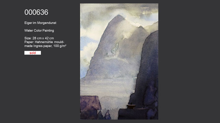 636 / Eiger in the morning mist, Watercolor painting, 42 cm x 28 cm; SOLD