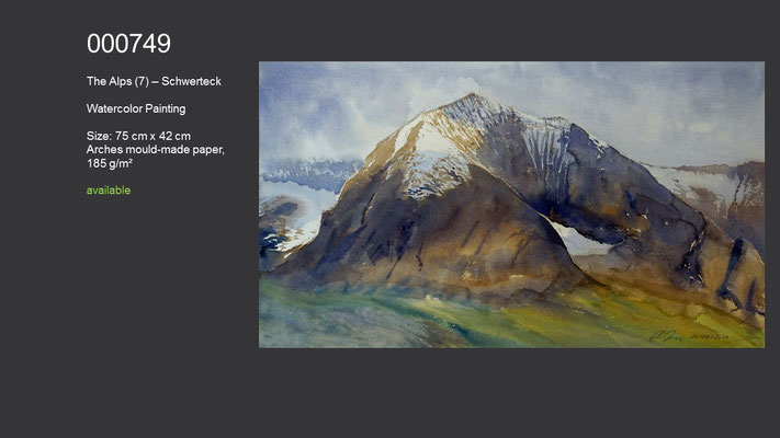 749 / The Alps (7) - Schwerteck, Watercolor painting, 75 cm x 42 cm; available
