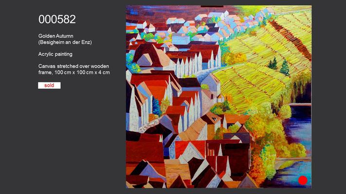 Golden Autumn (Besigheim an der Enz), Acrylic Painting, sold