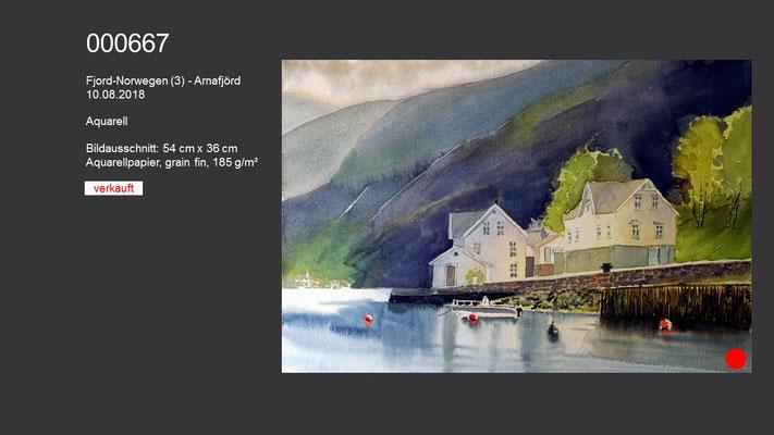 667 / Aquarell / Fjord-Norwegen (3) - Arnafjord, 54 cm x 36 cm; VERKAUFT