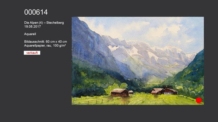 614 / Aquarell / Die Alpen (4) - Stechelberg, 60 cm x 40 cm; VERKAUFT