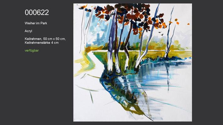 Weiher im Park, Acrylgemälde (Acrylmalkurs Erwin Kastner), verfügbar