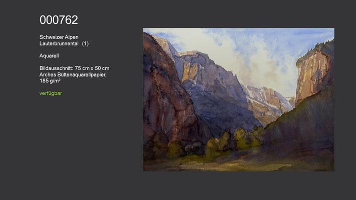 762 / Aquarell / Schweizer Alpen - Lauterbrunnental (I); 72 cm x 54 cm; verfügbar