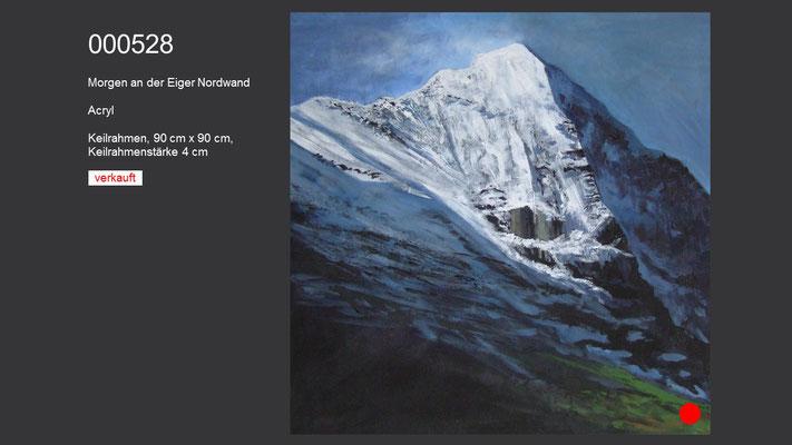 Morgen an der Eiger Nordwand, Acrylgemälde, verkauft