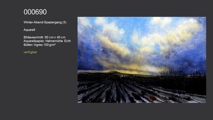 690 / Aquarell / Winter-Abend-Spaziergang, 60 cm x 40 cm; verfügbar
