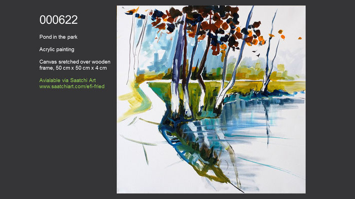 Pond in the park (created during a painting seminar lead by Erwin Kastner), Acrylic Painting, available