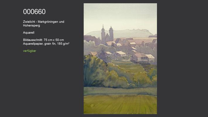 660 / Aquarell / Zwielicht - Markgröningen und Hohenasperg, 75 cm x 50 cm; verfügbar