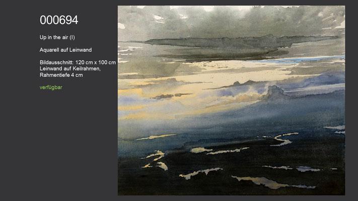 694 / Aquarell / Up in the air, Aquarell auf Leinwand (Keilrahmen), 120 cm x 100 cm; verfügbar