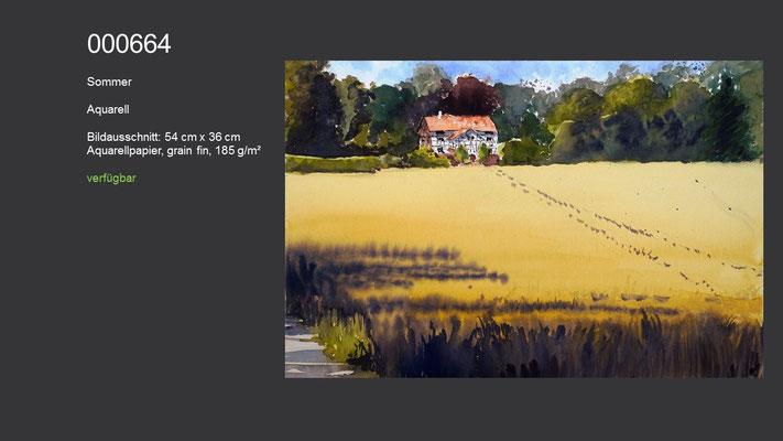 664 / Aquarell / Sommer, 54 cm x 36 cm; verfügbar