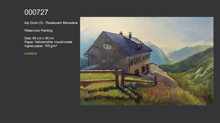 727 / Alp Grüm - Restaurant Belvedere, Watercolor painting, 60 cm x 40 cm; available
