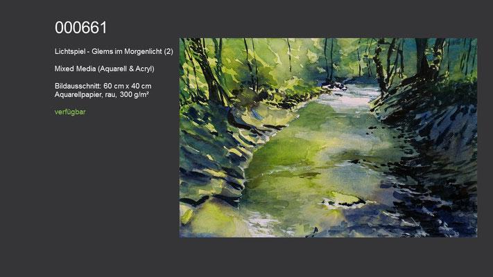661 / Aquarell / Lichtspiel - Glems im Morgenlicht (2), 60 cm x 40 cm; verfügbar
